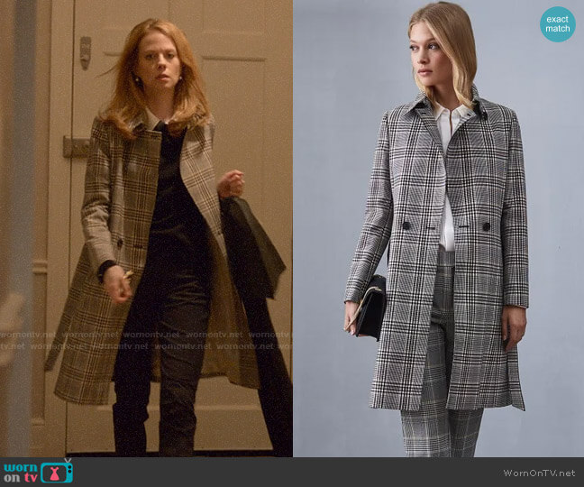 Reiss Eden Check Mac worn by Gemma (Zoe Boyle) on Four Weddings & a Funeral