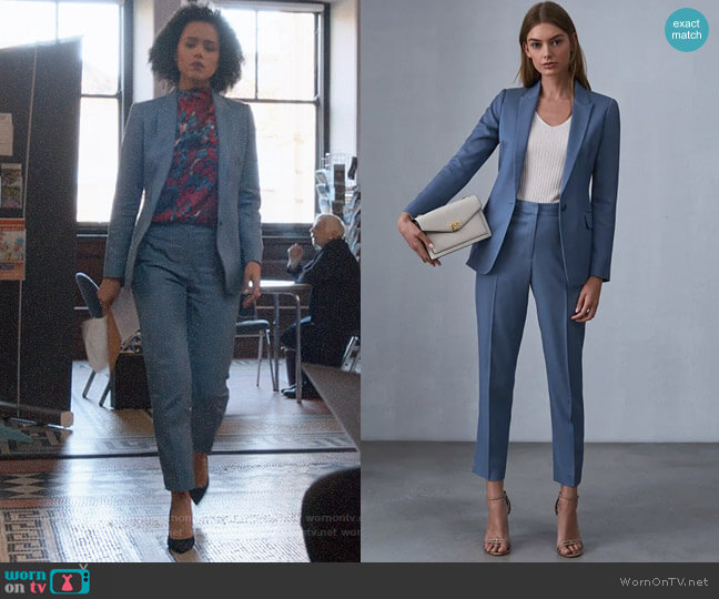Reiss Etta Jacket and Trousers worn by Maya (Nathalie Emmanuel) on Four Weddings & a Funeral