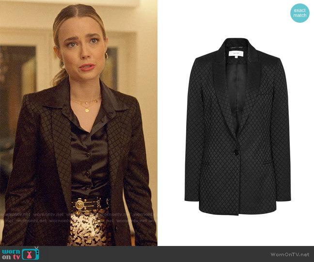 Reiss Fortuna Black Diamond Jacquard Blazer worn by Ainsley Howard (Rebecca Rittenhouse) on Four Weddings & a Funeral