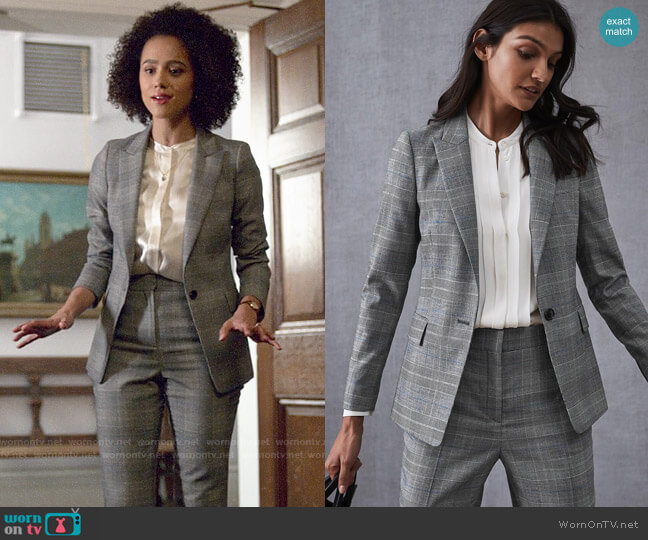 Reiss Joss Check Plaid Blazer and Trousers worn by Maya (Nathalie Emmanuel) on Four Weddings & a Funeral