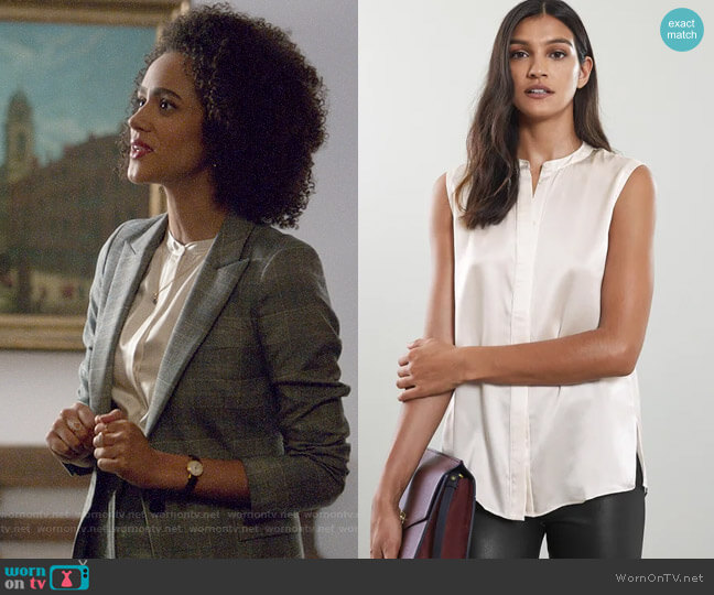 Reiss Lila Top worn by Maya (Nathalie Emmanuel) on Four Weddings & a Funeral