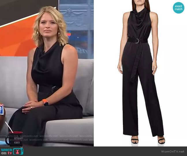 Milo Sleeveless Belted Jumpsuit by Reiss worn by Sara Haines  on Good Morning America