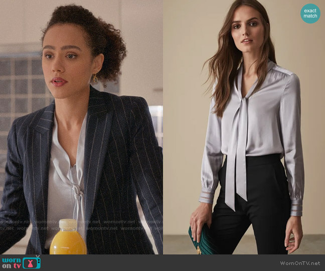 Reiss Olivia Blouse worn by Maya (Nathalie Emmanuel) on Four Weddings & a Funeral