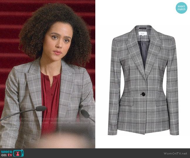 Reiss Ora Jacket worn by Maya (Nathalie Emmanuel) on Four Weddings & a Funeral