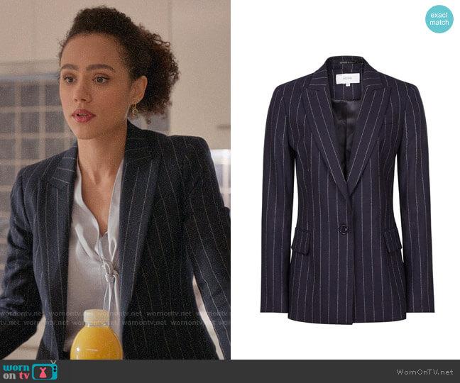 Reiss Piper Pinstripe Blazer worn by Maya (Nathalie Emmanuel) on Four Weddings & a Funeral