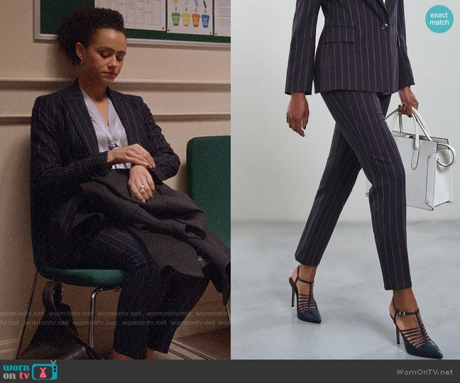 Reiss Piper Pinstripe Trousers worn by Maya (Nathalie Emmanuel) on Four Weddings & a Funeral