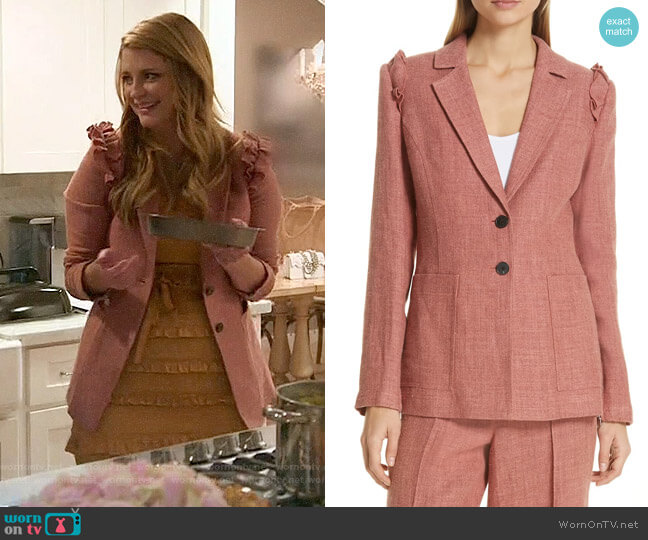 Robert Rodriguez Chelsea Ruffle Shoulder Linen Blend Jacket worn by Mischa Barton  on The Hills New Beginnings