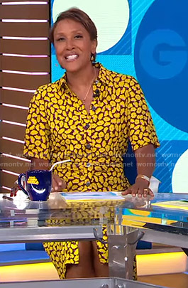 Robin's yellow floral shirtdress on Good Morning America