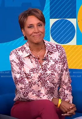 Robin's pink leopard print shirt on Good Morning America