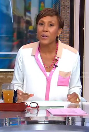 Robin's white pink and beige contrast blouse on Good Morning America