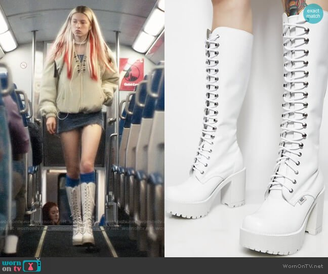 ROC Australia Icy Lash Boots worn by Jules Vaughn (Hunter Schafer) on Euphoria