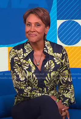 Robin's leaf print blouse on Good Morning America