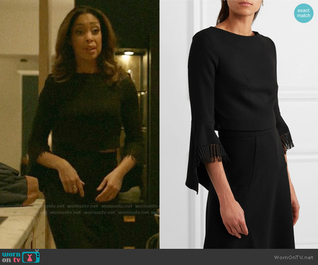 Roland Mouret Liverton Top worn by Jessica Pearson (Gina Torres) on Pearson