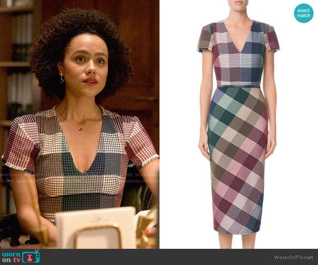 Roland Mouret Chaney Dress worn by Maya (Nathalie Emmanuel) on Four Weddings & a Funeral