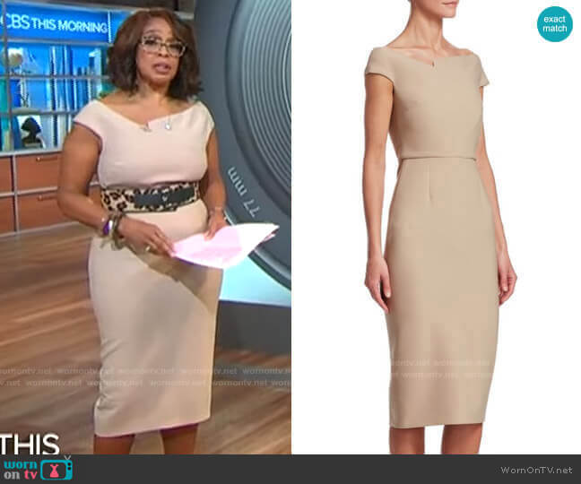 Darley Dress by Roland Mouret worn by Gayle King  on CBS Mornings