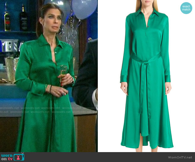 Rosetta Getty Apron Wrap Crepe Back Satin Shirtdress worn by Hope Williams (Kristian Alfonso) on Days of our Lives
