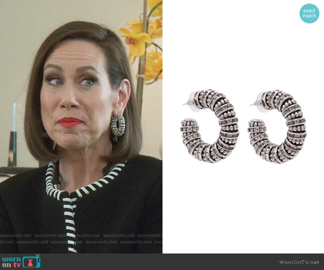 Crystal And Bead Embellished Chunky EArrings by Saint Laurent (Thanks Younger Closet) worn by Diana Trout (Miriam Shor) on Younger