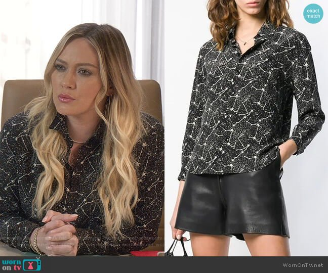 Constellation Print Shirt by Saint Laurent worn by Kelsey Peters (Hilary Duff) on Younger