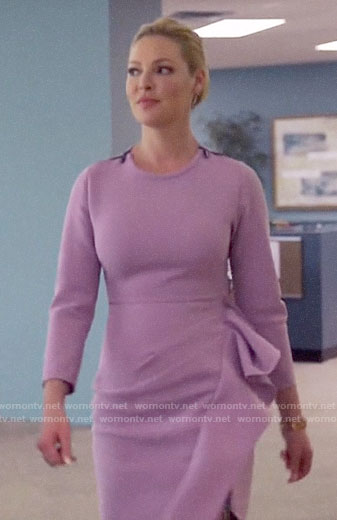 Samantha's purple ruffled dress on Suits