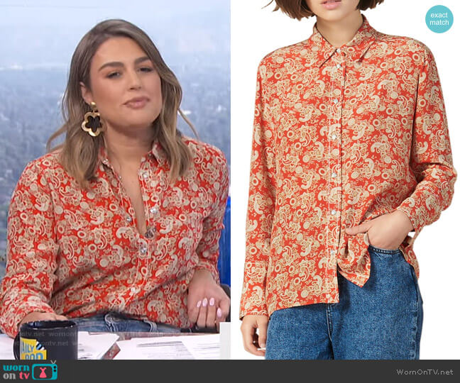 Lanni Paisley Shirt by Sandro worn by Carissa Loethen Culiner  on E! News