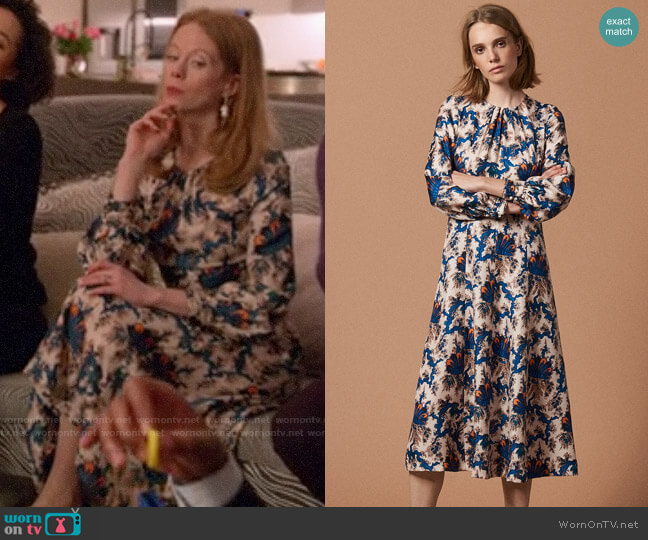 Sandro Carna Silk Midi Dress worn by Gemma (Zoe Boyle) on Four Weddings & a Funeral