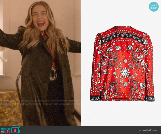 Sandro Conversation Print Top worn by Ainsley Howard (Rebecca Rittenhouse) on Four Weddings & a Funeral