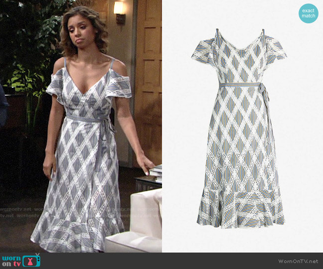 Sandro Lace Dress with Ruffles on the Shoulders worn by Elena Dawson (Brytni Sarpy) on The Young & the Restless