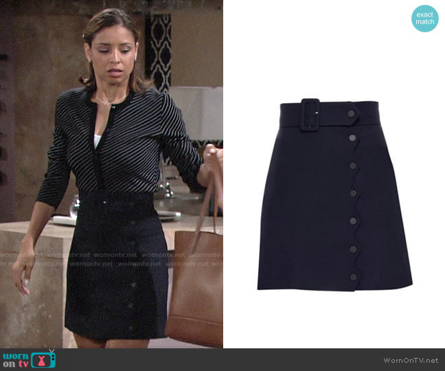 Sandro Laurene Skirt worn by Elena Dawson (Brytni Sarpy) on The Young & the Restless