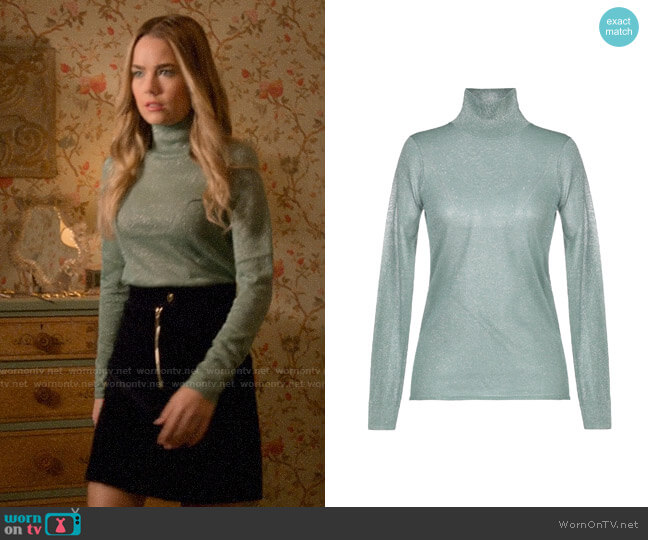 Sandro Metallic Turtleneck Top worn by Ainsley Howard (Rebecca Rittenhouse) on Four Weddings & a Funeral
