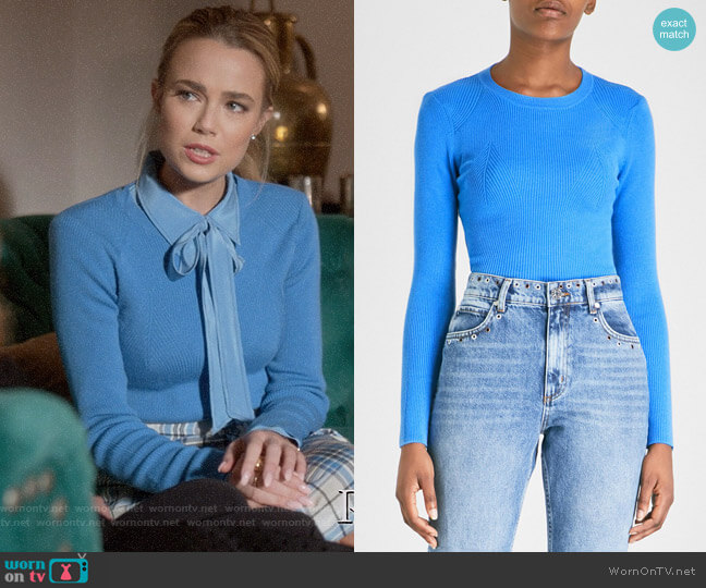 Sandro Ribbed-knit Jumper worn by Ainsley Howard (Rebecca Rittenhouse) on Four Weddings & a Funeral