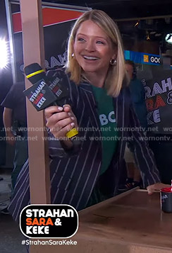 Sara's navy striped suit on GMA Strahan Sara And Keke