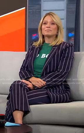 Sara's navy striped suit on GMA Strahan Sara And Keke