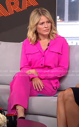 Sara's pink jumpsuit on GMA Strahan And Sara