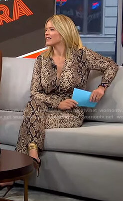 Sara's snake print jumpsuit on GMA Strahan Sara and Keke