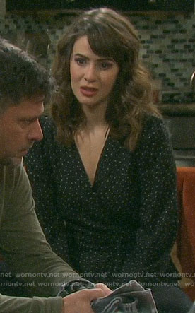 Sarah's black polka dot wrap top on Days of our Lives