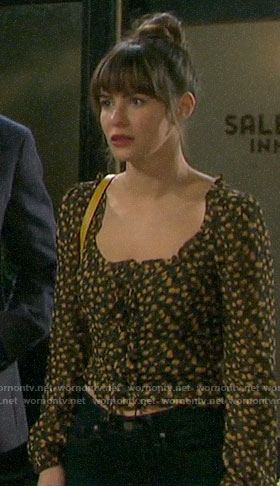 Sarah's floral square-neck top on Days of our Lives