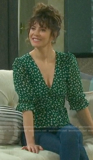 Sarah's green floral top on Days of our Lives