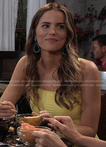 Sasha's yellow dress and turquoise earrings on General Hospital