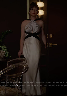 Lisa's satin halterneck gown on What/If