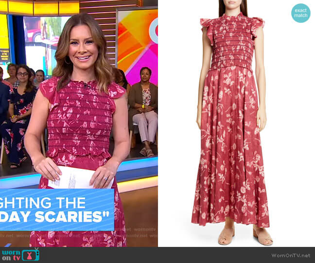 Monet Floral Print Smocked Maxi Dress by Sea worn by Rebecca Jarvis on GMA