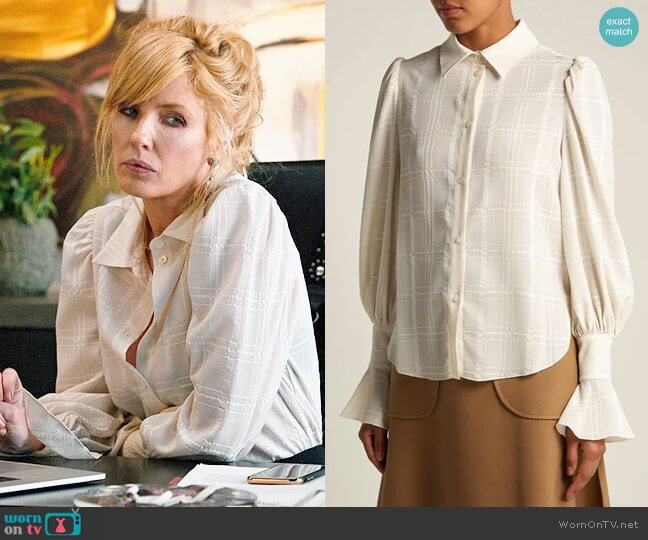 See by Chloe Checked flared-cuff shirt worn by Beth Dutton (Kelly Reilly) on Yellowstone