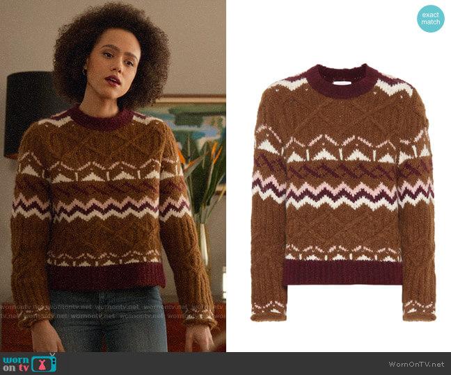 See by Chloe Fair Isle alpaca-blend sweater worn by Maya (Nathalie Emmanuel) on Four Weddings & a Funeral
