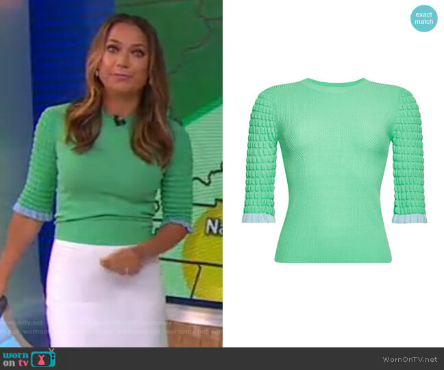 Ribbed Top with Ruffle Trim by See by Chloe worn by Ginger Zee  on Good Morning America
