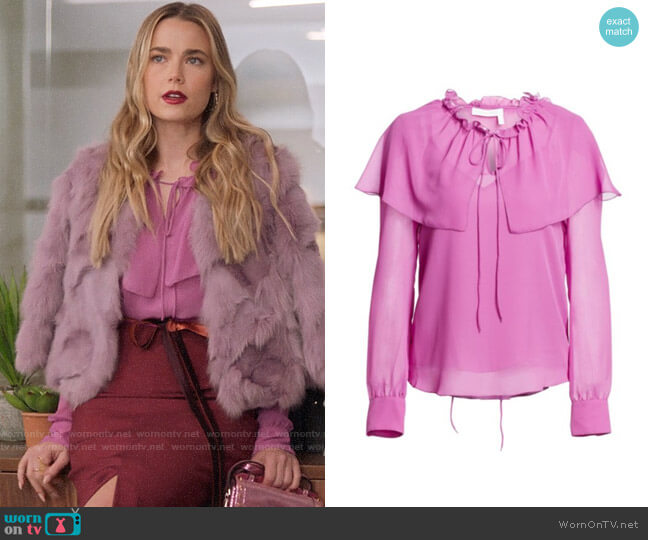 See by Chloe Sheer Ruffle Blouse worn by Ainsley Howard (Rebecca Rittenhouse) on Four Weddings & a Funeral