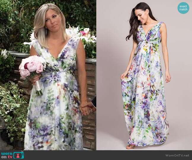 Seraphine Floral Silk Maternity Maxi Dress worn by Carly Corinthos (Laura Wright) on General Hospital