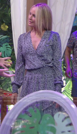 Sharon's blue printed wrap front dress on The Young and the Restless