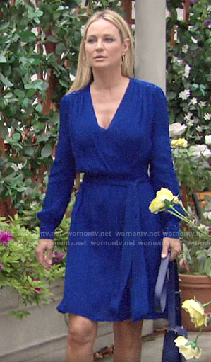 Sharon's blue beaded wrap dress on The Young and the Restless