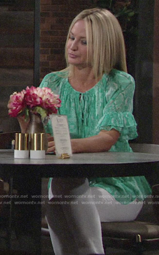 Sharon's green snake print top on The Young and the Restless