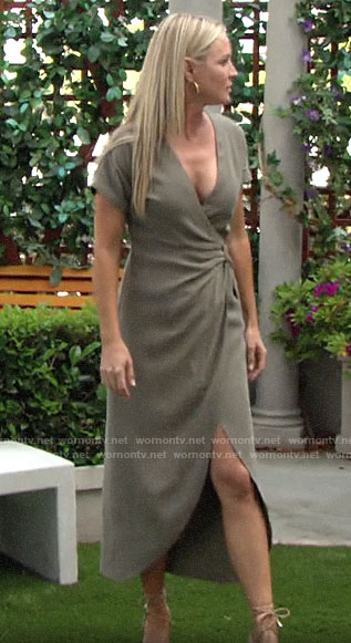 Sharon's khaki green wrap dress on The Young and the Restless