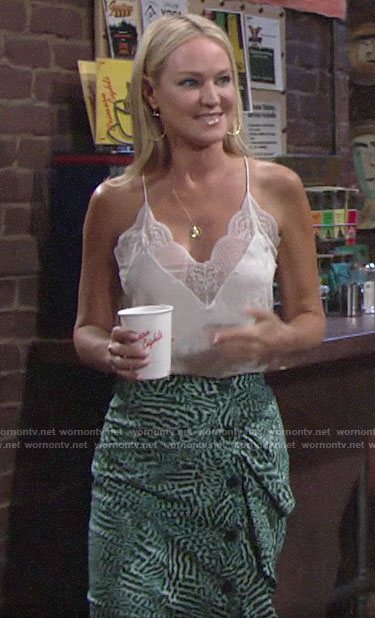 Sharon's white lace-trim cami and green ruffled skirt on The Young and the Restless